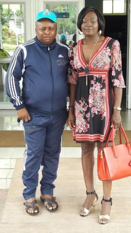 Françoise et le Pdt de la FEACTHLETISME , Emmanuel Motomby Mbomè